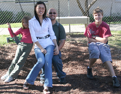Diana, Jue, Brian, and Joey at Christmas 2007